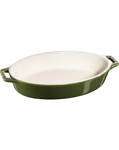 Staub: Auflaufform, oval, 28,4x17,4cm, basilikumgrün