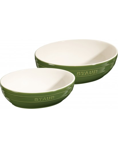 Staub: Schalenset oval 23 und 27 cm Basilikumgrün