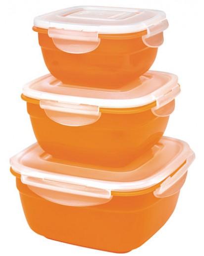 LocknLock: 3-teiliges Schüsselset quadratisch orange (HSM8450PSO3)