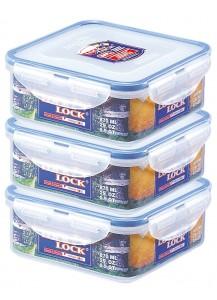 Lock & Lock: 3x Dose quadratisch 870 ml (HPL823O3)