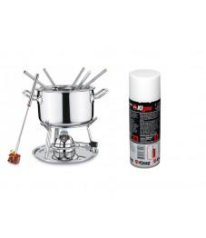 Spring: Brigade Fondue-Garnitur mit Gasbrenner und Kisag Kigas 400 ml