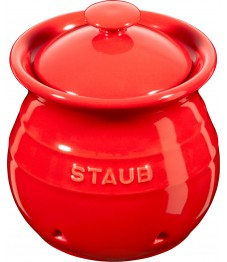 Staub: Vorratsdose für Knoblauch aus Keramik, Ø11cm, kirschrot