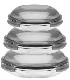 Lock & Lock: Boroseal Set 3-tlg., rund gewölbt grauer deckel (LLG885GS3)